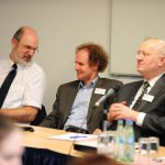 Snapshot of the board table at the annual general meeting of the International Society of Human Rights (15/3/2009), middle: Edgar Lamm, right: Prof Menno Aden. Photo: Markus Scherf