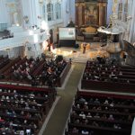 "Lecture against human trafficking in Hamburg's landmark, the central church called ""Michel"""