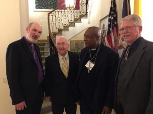 Photo (from left to right): Thomas Schirrmacher, Ken Hackett, USA Ambassador to the Holy See, the Cardinal of Nigeria, Thomas K. Johnson, WEA Ambassador to the Vatican (photo taken in the residence of the USA Ambassador to the Holy See)