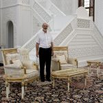 The seating for the Pope and the Grand Scheikh in the big mosque in Baku shortly before their meeting