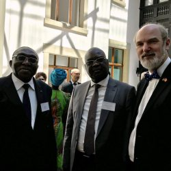 In the German Parliamentary Society at the Deutsche Bundestag in discussion about peace and reconciliation with the Prime Minister of the Central African Republic, Simplice Mathieu Sarandji (Mitte), and his chief of cabinet Minister Maxime Balalou.