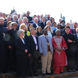 The Faith and Order Commission in front of the Nelson-Mandela-Monument in front of the seat of government and the palace of the President in Johannesburg