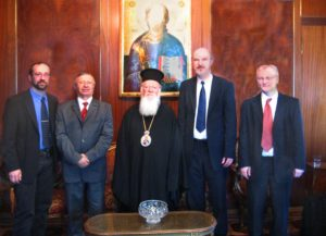 The delegation of the Martin Bucer Seminar to the Ecumenical Patriarch from left to right: Titus Vogt, Vice Dean MBS; Behnan Konutgan, President MBS Turkey; Patriarch Bartholomäus I; Thomas Schirrmacher, Rector MBS; Thomas Kinker, Dean MBS © BQ