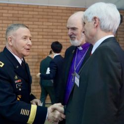 (from left) General Michael A. Bills, Bishop Thomas Schirrmacher, Johannes Selle, MdB, vice chairman of the German-Korean parliamentary group © BQ/Warnecke