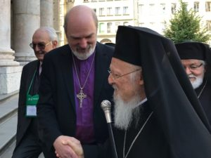 Thomas Schirrmacher welcomes Ecumenical Patriarch Bartholomew I in front of Geneva Cathedral for the WCC's 70th anniversary service. © BQ/Warnecke
