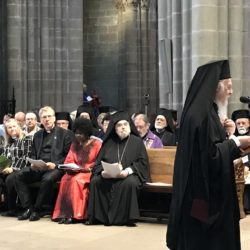 Ecumenical Patriarch Bartholomew I preaches at the 70th anniversary service of the WCC in Geneva Cathedral. In the background the WCC presidium © BQ/Warnecke