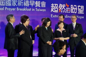 Bishops and pastors pray for Taiwanese President Tsai Ing-wen after her speech © BQ/Warnecke