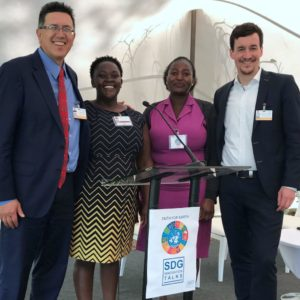 Dr. Chris Elisara (left) and Matthias Böhning (right) with representatives of the Kenyan Evangelical partner organisation Jitokeze Wamama Wafrika at the United Nations Environment Assembly in Nairobi/Kenya in March 2019 © WEA Sustainability Center