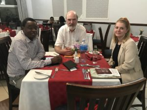 (from left to right): Rev. Themba Ngozo, Secretary General of the Evangelical Alliance of Eswatini, Thomas Schirrmacher, Esther Schirrmacher © BQ/Esther Schirrmacher
