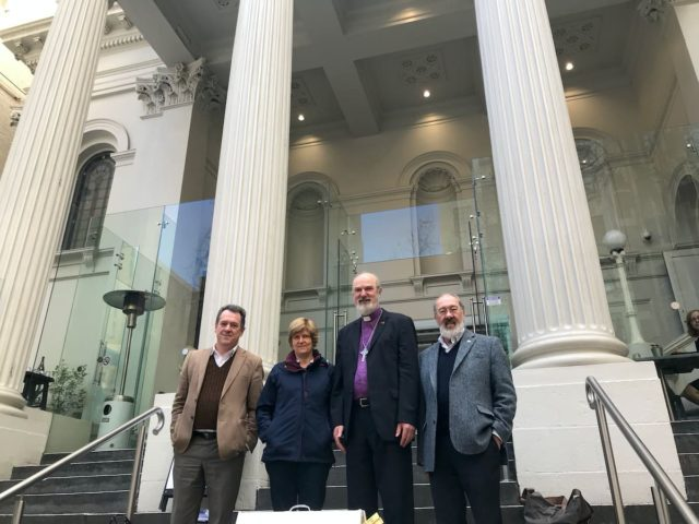 Melbourne: Thomas and Christine Schirrmacher with Dr Gordon Preece (far left) and Dr Richard Dickins in front of the venue, the First Baptist Church in Melbourne © BQ/Martin Warnecke