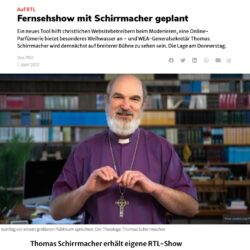"""PRO makes fun of me on April Fools' Day 2021: Thomas Schirrmacher receives his own RTL show: In the future, the theologian Thomas Schirrmacher will have his own program on the TV station RTL. The popular sociologist of religion, who is friends with Pope Francis, will appear weekly on the program """"Alarm for Schirrmacher"""" from May onwards. In addition, prominent guests will appear in """"Alarm for Schirrmacher"""". For the episodes that are planned in Rome, Pope Franziskus has been asked by RTL as an accompanying person, who will comment on the program from a side seat and pass the balls to show master Schirrmacher. The broadcaster has not yet revealed any details."""